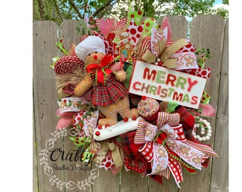 Christmas Wreath, Christmas Decorations, Christmas Wreath for front door, Gingerbread Wreath, Merry Christmas, Candy Land Christmas