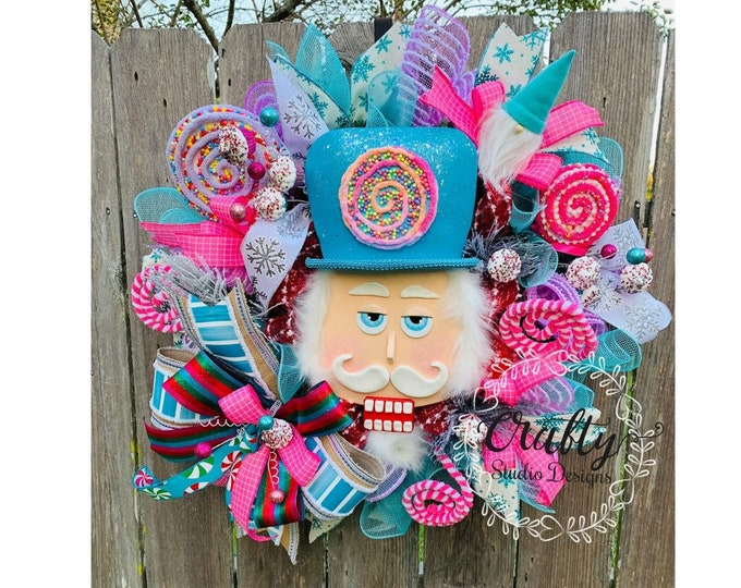 Christmas Wreath for front door, Christmas Swag, Holiday Wreath, Nutcracker Wreath, Christmas Decoration, FREE SHIPPING, Candyland Wreath