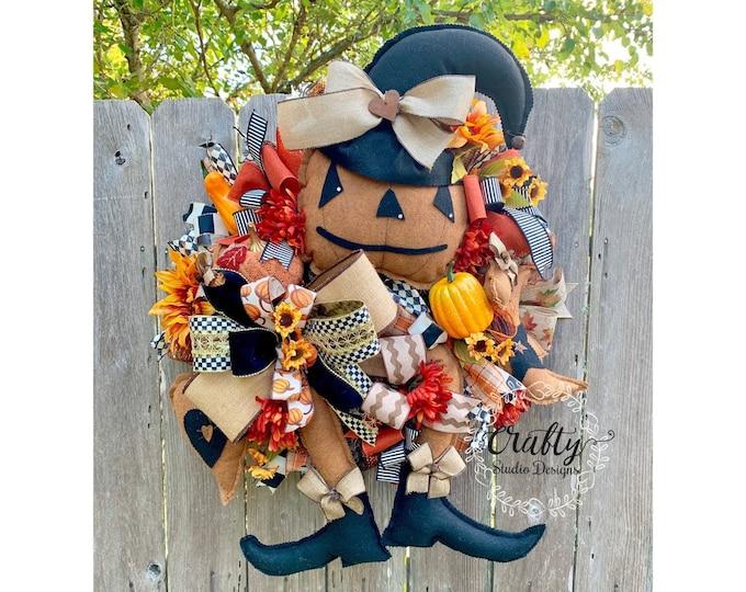 Fall Decor, Fall Wreaths for front door, Wreath with Pumpkins, Thanksgiving Wreath, Pumpkin Wreath, Primitive Pumpkin, Mackenzie Childs