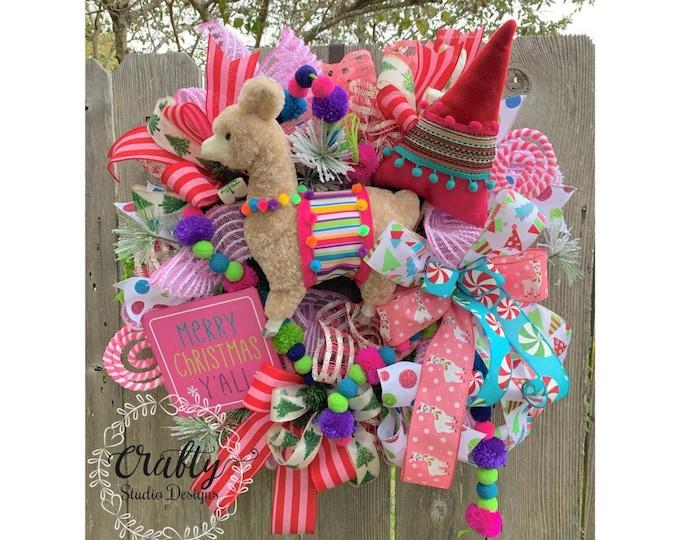 Christmas Wreath, Holiday Wreath with free shipping, Christmas Wreath, Christmas Wreath for Front Door, Christmas llama, Candyland Christmas
