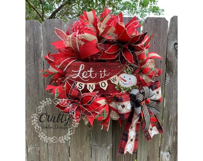 Snowman Wreath, Christmas Wreath, Winter Wreath, Plaid Christmas, Let it Snow Wreath, Deco Mesh Wreath, Christmas Wreath for Front Door