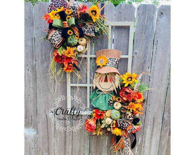 Scarecrow Face Wreath, Scarecrow Wreath, Fall Wreath, Window Frame, Fall Scarecrow Wreath, Autumn Wreath, Picture Frame Wreath, Wall Hanging