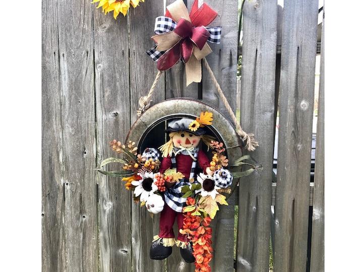 Fall Wreath, Scarecrow Wreath, Pumpkin Wreath, for Front door, Buffalo Plaid Wreath, Tire Swing Galvanized, Metal Tire Wreath, Door Hanger