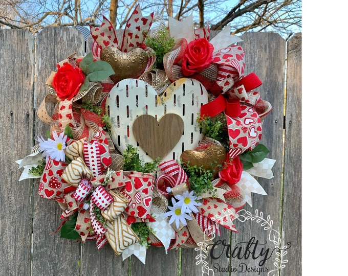 Valentines Wreath, Farmhouse Valentines Wreath, Valentines Decor, Valentine Heart Wreath, Rustic Wreath, Vintage Wreath, Wedding Wreath