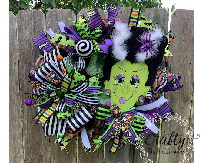 Bride of Frankenstein Wreath, Halloween Wreath, Frankie Wreath, Halloween wreaths for front door, Halloween decor, Halloween Decorations
