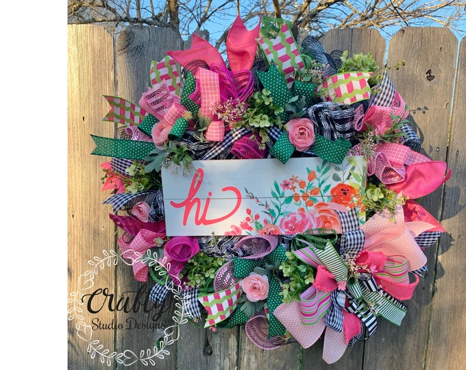 Summer Wreaths, Mothers Day Gift, Spring Wreath for front door, Gift for her, Gift for Grandma, front door wreaths, deco mesh wreaths
