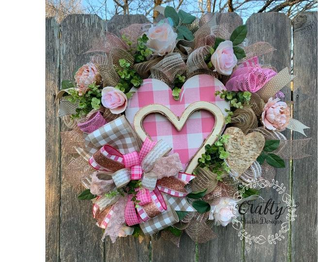 Valentines Wreath, Shabby chic valentine decor, Valentines Rose Gold, Valentines Day Wreath, Wedding Wreath, Valentines Door Decor