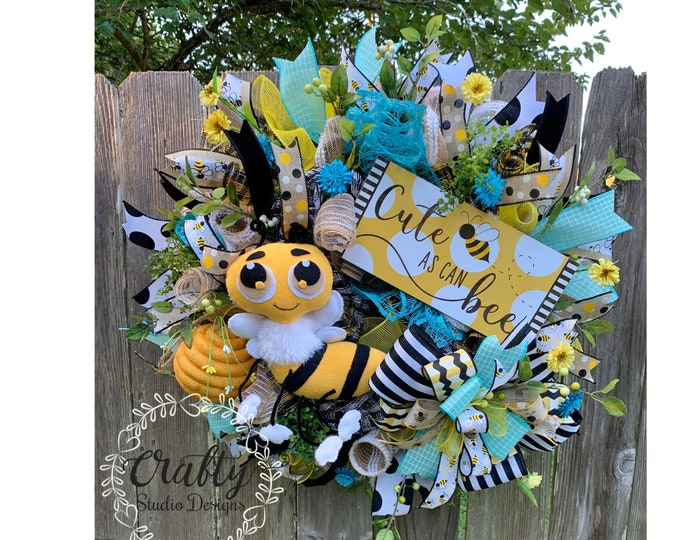 Bumble Bee Wreath, Summer Wreath, bee blessed, Cute as can Bee, Everyday Wreath, Bumble bee decor, Wreath for Front door, Bee Decor