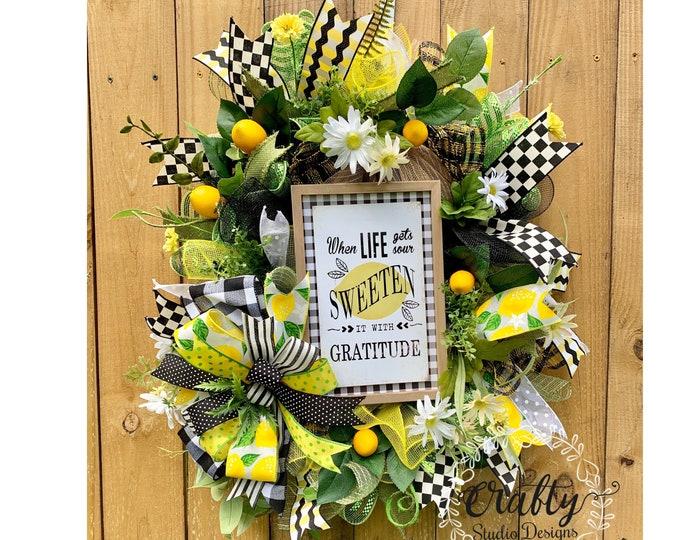 Lemon Wreath, Lemonade Wreath, When life gives you lemons, Everyday Wreath, Spring Wreath, Buffalo Plaid, picnic wreath