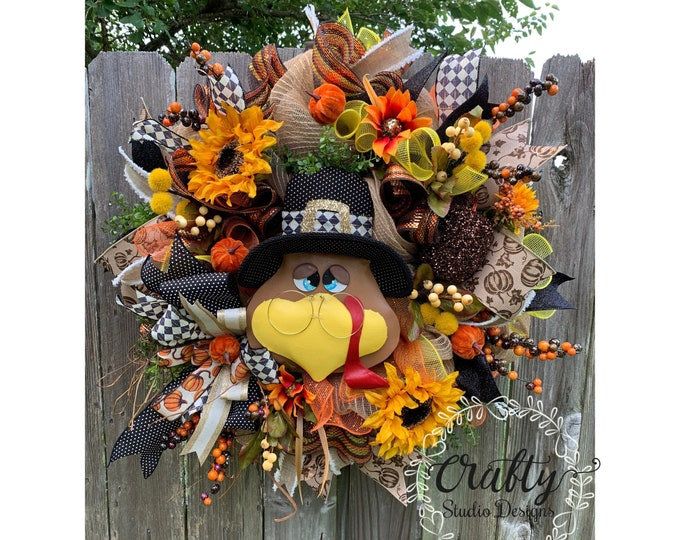 Fall Wreath for Front Door, Fall Wreath with pumpkins, Turkey Wreath, Thanksgiving Wreath, Autumn Wreath, Fall Decor, Turkey Decor