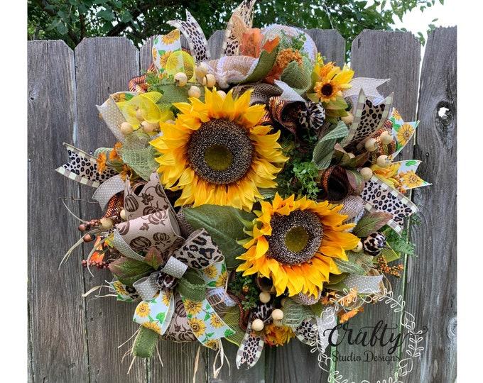 Fall Wreath, Sunflower Decor, Sunflower Wreath, Front Door, Fall Wreath with pumpkins, Leopard Wreath, Fall Decor, Fall Cheetah Wreath