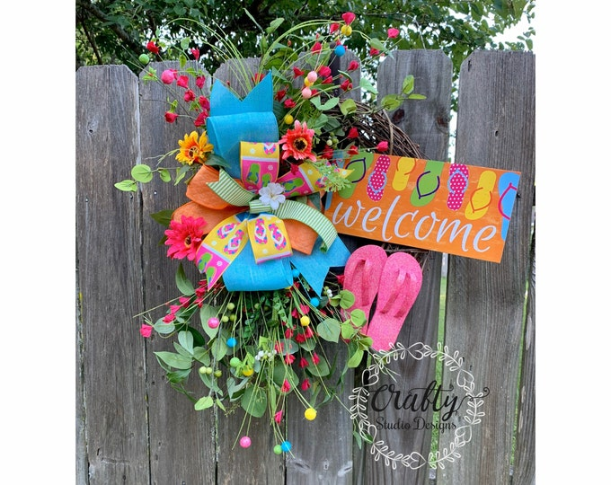 Summer Wreath Front Door, Flips Flop Wreath, Beach Wreath, Pool Party, Welcome Wreath, Summer Decor, Front Door Wreath, Grapevine Wreath
