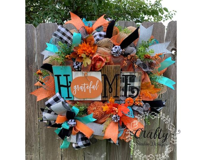 Pumpkin Wreath for Front Door, Fall Wreath for Front door, Buffalo Plaid Wreath, Grateful Decor, Fall Decor, Wreath with pumpkins
