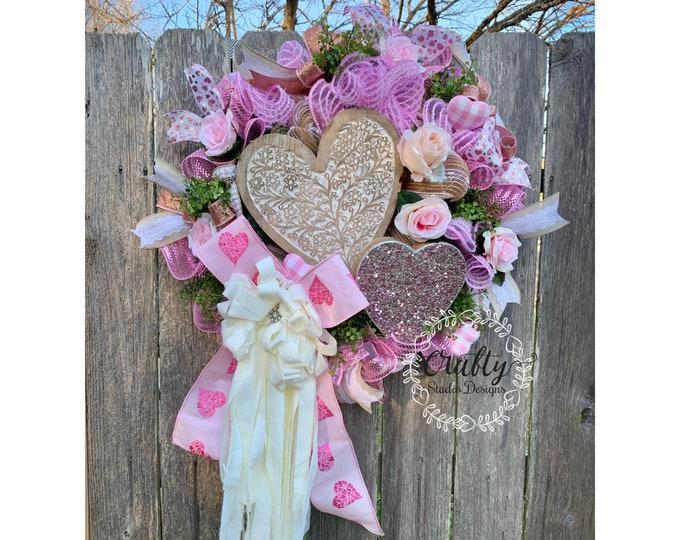 Valentines Day Wreath, Glam Valentines, Shabby chic valentine decor, Valentines Rose Gold, Valentines Day Wreath, Wedding Wreath