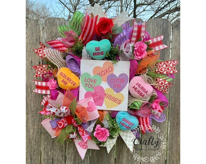 Conversations Hearts, Valentines day door decor, Valentines Wreath for front door, Love Wreath, Heart Wreath, valentines wreath