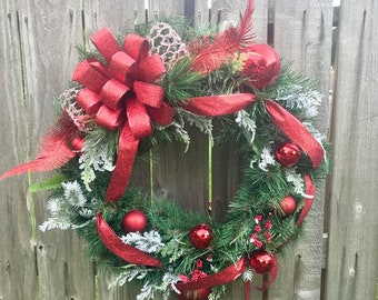 Bon Christmas Wreath, Christmas Evergreen Wreath, Large Christmas Wreath,  Deluxe Christmas Wreath, Front Door Wreath, Red Christmas Wreath