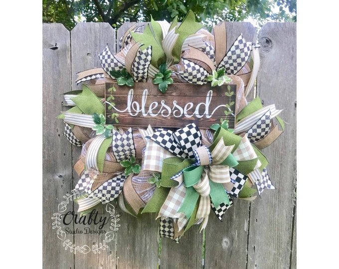 Wreath for front door, Everyday Wreath, Burlap Wreath, Blessed Wreath, Year Around Wreath, All Season Wreath, Front Door Wreath, Farmhouse