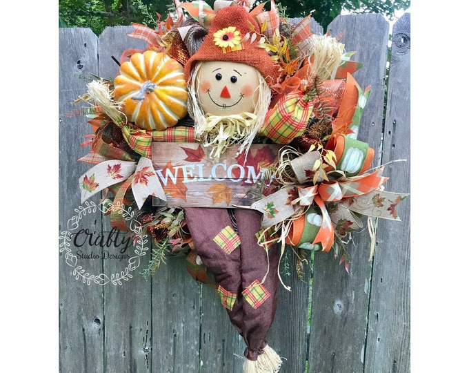 Fall Wreath, Fall Decor, Scarecrow Wreath, Thanksgiving Wreath, Fall Pumpkin Wreath, Fall Wreath for front Door, Fall Wreath, Welcome Wreath