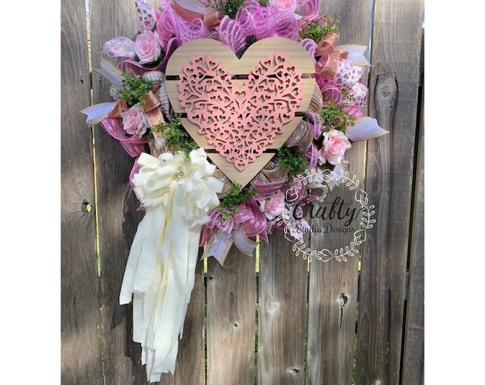 Wedding Wreath, Baby shower Wreath, Shabby chic decor, Bridal Decor, Bridal Shower Decor, Wedding Day Decorations, Vintage Wreath, Rag Bow