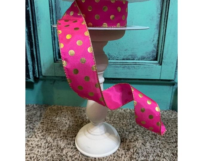 Polka Dot, Halloween Ribbon, 50 Yards, Wired Ribbon, Fuchsia Ribbon, Ribbon Wreath, Candy Land Ribbon, Donut Ribbon, Day of the Dead Ribbon