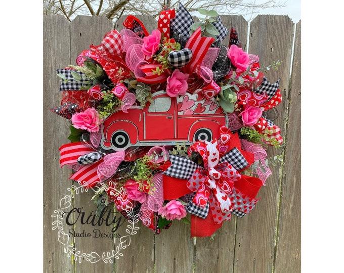 Valentines Day Wreath, Red Truck Wreath, Valentines Day Decor, Valentines Wreath, Valentines Gift, Red Truck valentine wreath