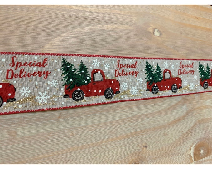 Christmas Red Truck Ribbon 5 Yards, Christmas Ribbon, Red Truck Ribbon, Ribbon for Wreath, 5 yards Ribbon, Merry Christmas Ribbon