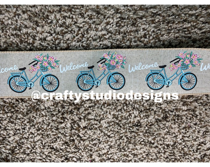 Spring Bicycle Ribbon 5 yards, Bicycle Ribbon, Hello Spring Ribbon, Ribbon for Wreath, Wreath Supplies, Spring Ribbon, 5 yards Ribbon