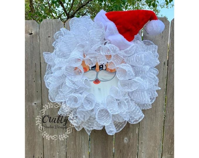 Santa Face Wreath, Santa Claus Wreath, Christmas Wreath Front Door, Christmas Decorations, Santa Claus Mesh Wreath, Santa Christmas Tree