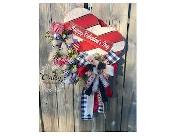 Valentines Wreath for front door, Valentines Day Wreath, Love Wreath, Valentines Gift, Valentines Rustic, Valentines Decor, Buffalo Plaid