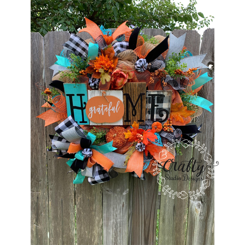 Pumpkin Wreath For Front Door Fall Wreath For Front Door Buffalo Plaid Wreath Grateful Decor Fall Decor Wreath With Pumpkins