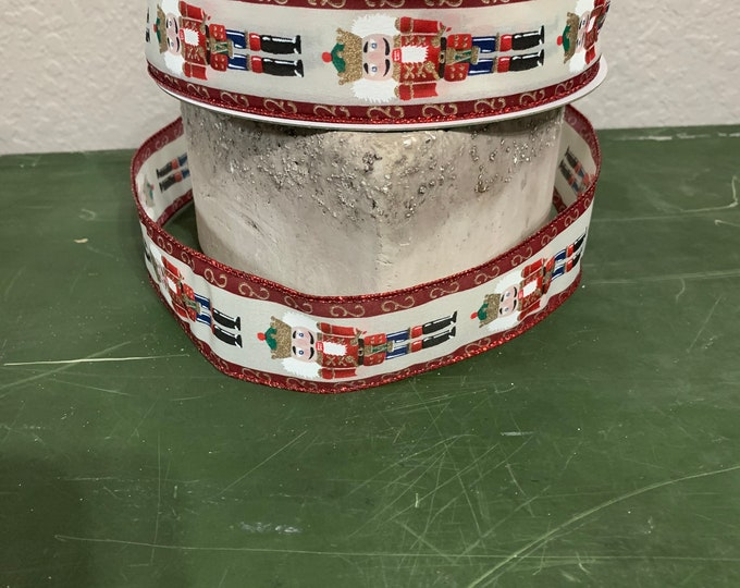 Christmas Ribbon, Nutcracker Ribbon, 50 yards Ribbon, Ribbon Wreath, Wired Ribbon, 1.5 Christmas Ribbon, Christmas Pattern Ribbon