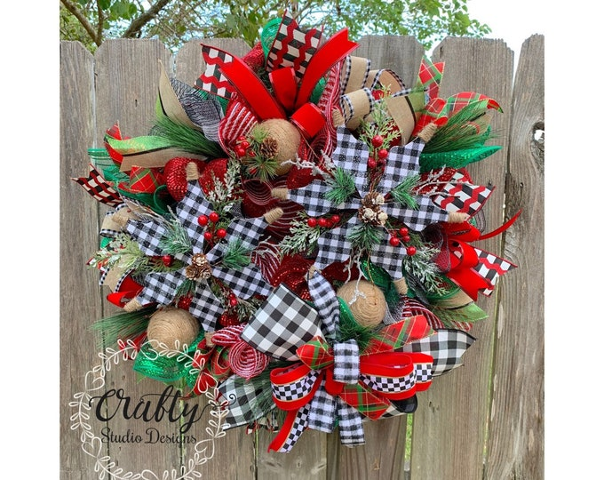 Christmas Wreaths for front door, Christmas Decorations, Buffalo Plaid Christmas, Farmhouse Wreath, Snowflake Decor, buffalo check Christmas