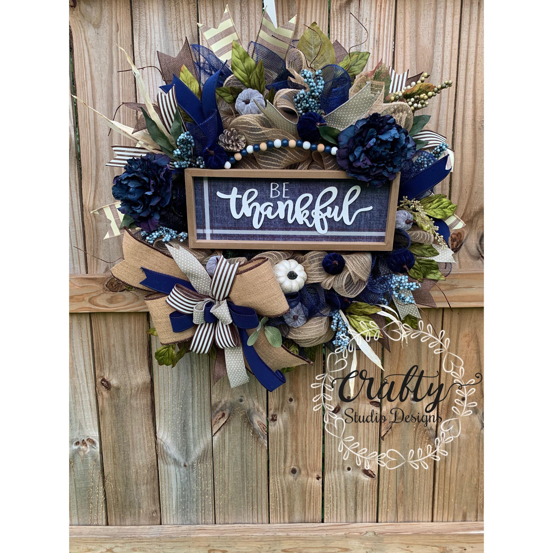 Pumpkin Wreath For Front Door Fall Wreath For Front Door Royal Blue Wreath Autumn Wreath Fall Wreath Thankful Decor Slate Blue Pumpkin
