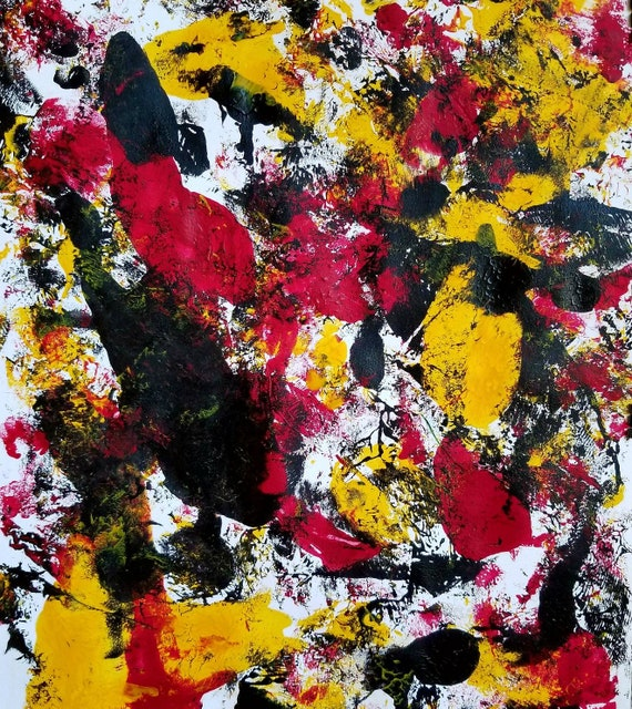 Red Yellow Black Cool Colorful Abstract Art Painting Modern Contemporary Expressionism Psychedelic Boho 11 X 14