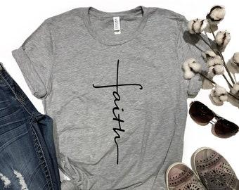 Faith Cross Tee, Faith Shirt, Cross Shirt, Christian Tee, Christian Shirt, Christian Gift, Gift for Her, Bella Canvas Tee, Graphic Tee