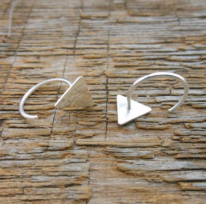 open hoop ear hugger earrings solid silver hug hoops triangle hugger hoops Silver Triangle hugging hoops gold triangle huggie earrings