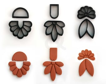 Floral Polymer Clay Cutter set of 6 | Clay Shape Cutter with Detailing | Unique clay cutter | DIY Craft tools | Polymer clay Earring cutter|