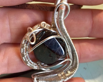 Wire Wrapped Garnet Pendant