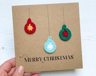 Merry Christmas, Crochet Greetings Card, Christmas Baubles, Happy Christmas Card, Cute Crochet Festive Greetings Card
