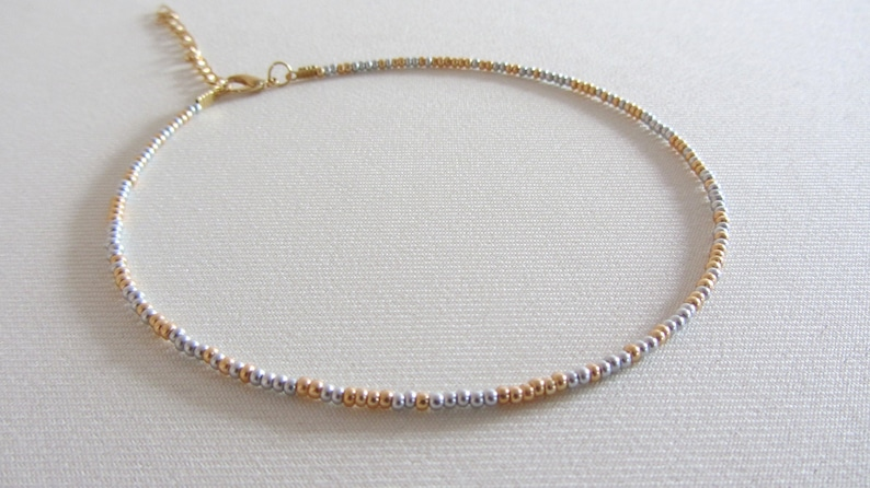 Beaded choker necklace gold silver bead necklace rainbow choker bead choker seed bead choker mini bead choker boho beach jewelry hippy gift