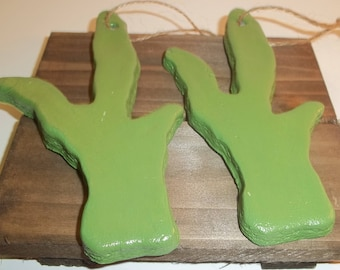 Set of Salt Dough Green Cactus Ornaments