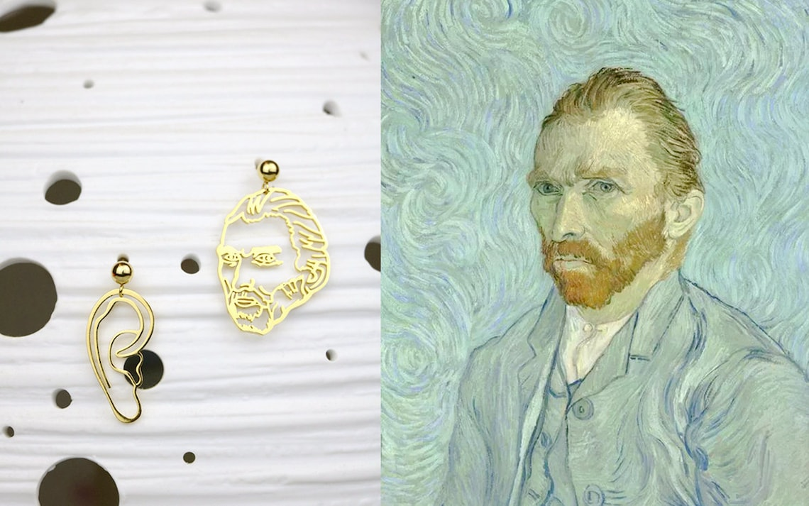 Limited Edition  Vincent Van Gogh Earrings  Portrait and Ear image 0