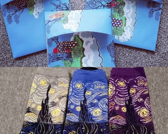 Handmade Envolope/Gift Wrap (with Van Gogh Starry Night Socks as gifts)