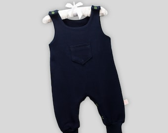 Baby Romper Waffle Dark Blue with Snaps