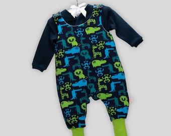 Baby Set: Romper + Wrap Shirt Animal Zoo Monkey Hippo Crocodile with Snap fasteners