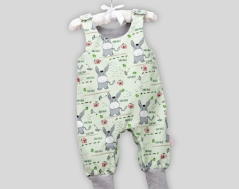 Baby romper donkey mint green size 62 with snaps