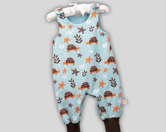 Organic romper turtle with snaps