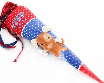 School bag dog Waldi, 3D red/blue