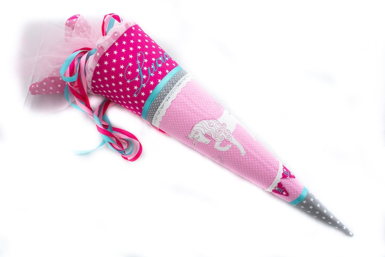 School bag unicorn incl. small pennant chain with date image 0