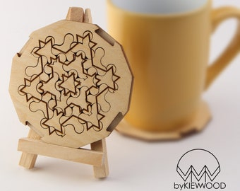 Koch Snowflake Fractal Puzzle Coaster-Personalised Wooden Engraved Coasters-New Home Gift-Unique Gifts-Drink Mats-Modern Coasters